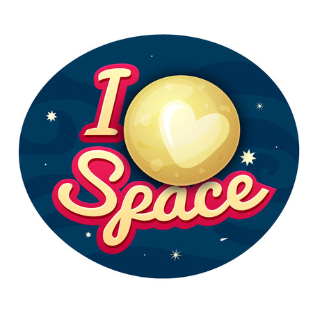 starfall: I love space concept design, print on t-shirt with Pluto on night sky