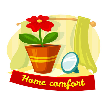 comfort: Home comfort concept design with flower in a pot