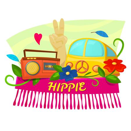 rasta colors: Hippie concept design with record plaer and hippie van