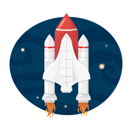 Space Shuttle takes off into space, a beautiful print on a T-shirt for the fan astronomy, vector illustration