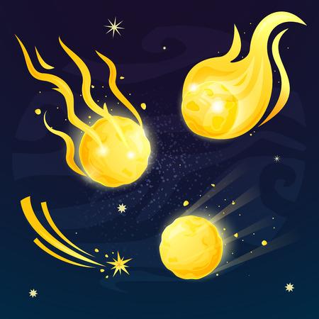 Set of flaming comets concept design, vector illustration