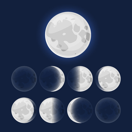 moon phases: Moon phases, vector illustration natural satellite of the Earth