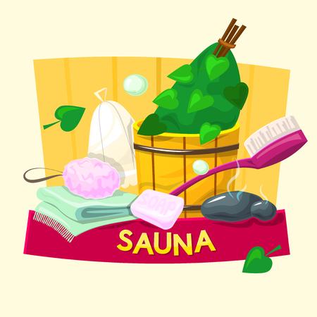 Sauna concept design, steam room vector illustration Illustration