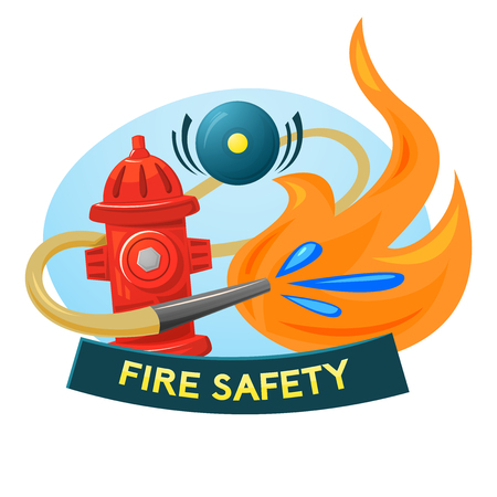 Fire safety concept design, vector illustration fire extinguishing Illustration