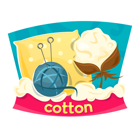 boll: Concept design industry for the production of cotton products, vector illustration Illustration