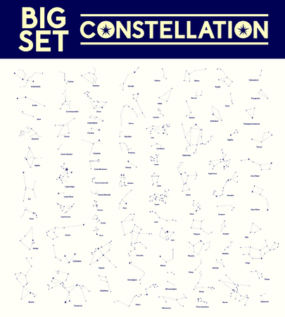 Big set of constellations, astronomical vector illustration