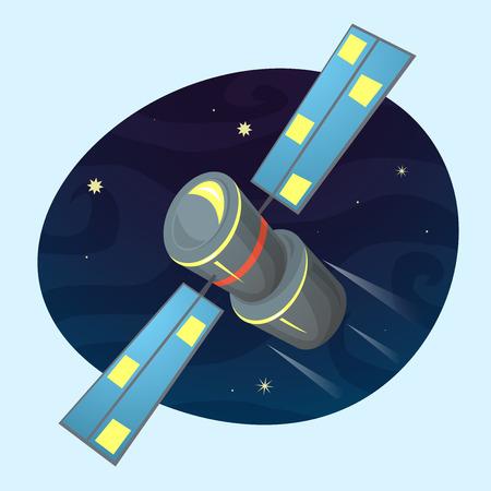 Satellite on space background vector illustration wireless technology concept design Illustration
