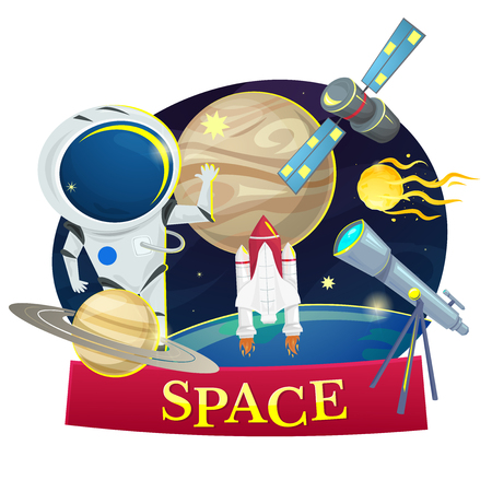 astronomy: Space concept design, astronomy set vector illustration