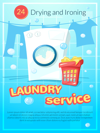 Laundry service advertising poster with washing machine washing laundry service advertising poster vector illustration with washing machine vector pronofoot35fo Image collections