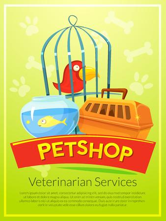 petshop: Petshop advertising poster, advertising vet services, vector illustration