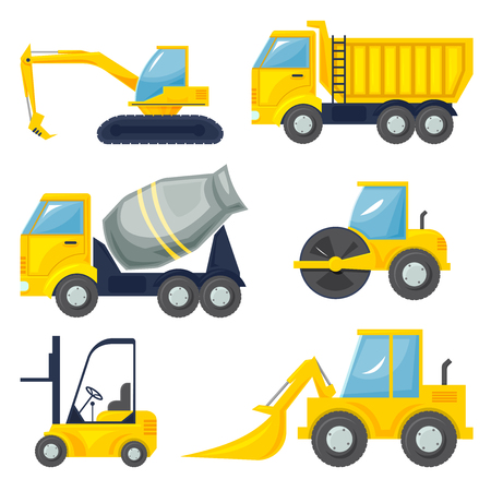 heavy set: Set  of operating machinery, heavy vehicles, vector illustration