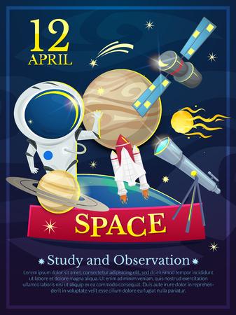 cosmonautics day: International Day of human space flight, Cosmonautics Day poster vector illustration