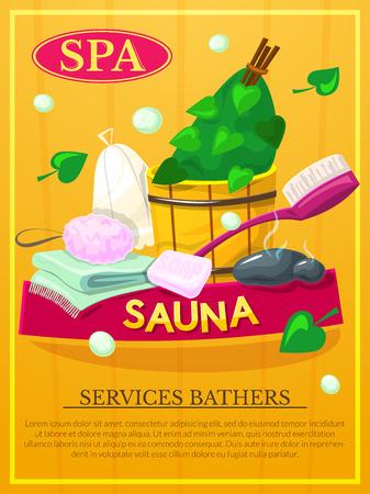 Sauna poster, Spa services advertising, vector illustration Illustration
