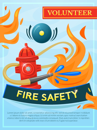 extinguishing: Fire safety vector poster, vector illustration fire extinguishing