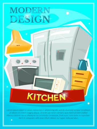 modern kitchen: Kitchen modern design advertising poster, vector illustration