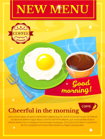 caffe: Diner menu design, Good morning poster, vector illustration