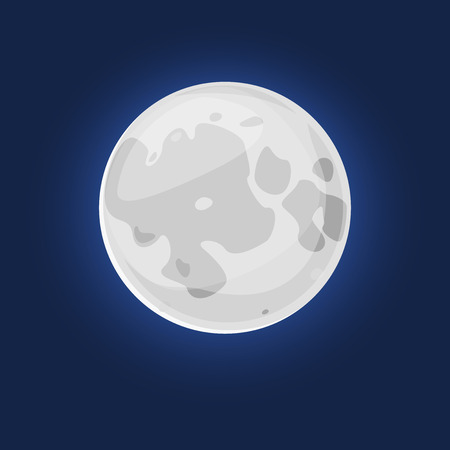 silvery: The silvery Moon, vector illustration natural satellite of the Earth Illustration