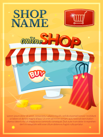 around the clock: Online Shop vector illustration