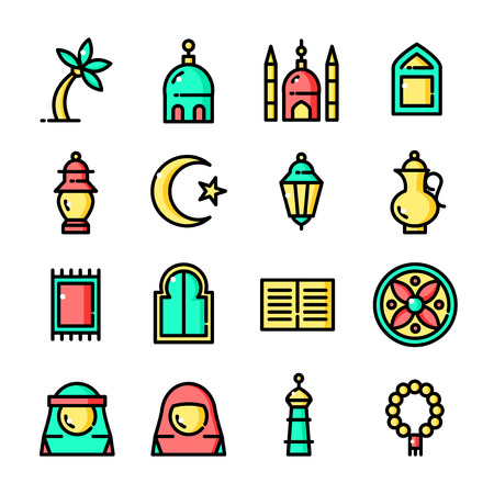 Thin line Islam icons set, vector illustration