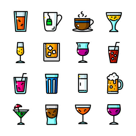 ice tea: Thin line Drinks icons set, Alcoholic and Non-alcoholic Beverages outline logos vector illustration
