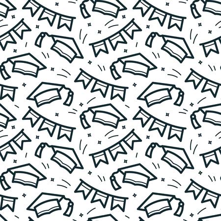 thrown: Graduation caps vector seamless pattern Illustration