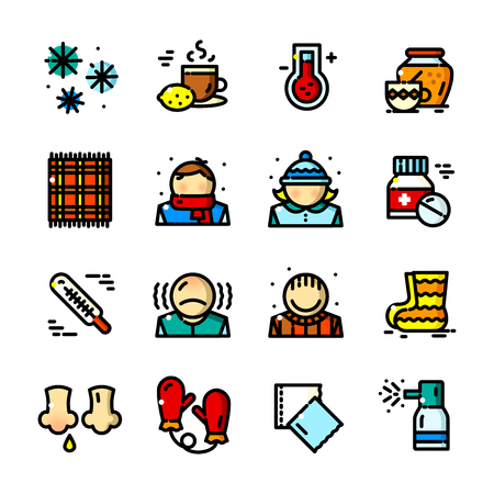 influenza: Thin line Colds icons set, vector illustration