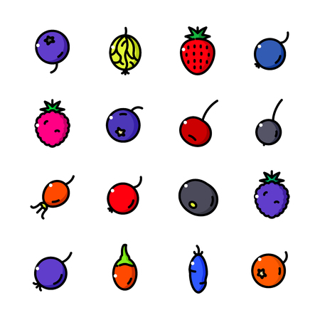 chokeberry: Thin line Berry icons set, Fruits of Berry Bushes outline logos vector illustration