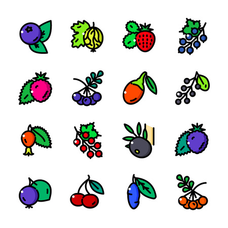 Thin line Berry icons set, Fruits and Leaves of Berry Bushes outline logos vector illustration