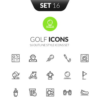 sports application: Outline black icons set in thin modern design style Illustration