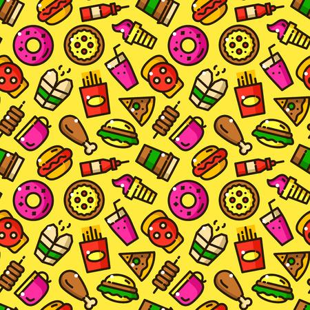 donut style: Fast food seamless pattern vector illustration