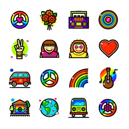 Thin line art Hippie icons set, Peace and Love outline logos vector illustration