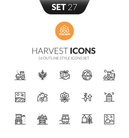Outline black icons set design in thin modern style