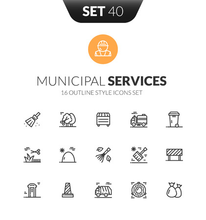 Outline municipal service black icons set design in thin modern style Çizim