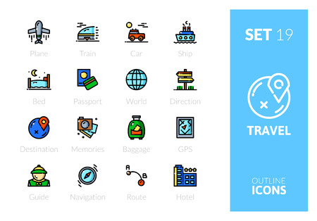 Outline color icons set in thin modern design style, flat line stroke vector symbols - travel collection 向量圖像