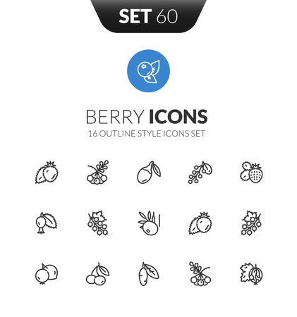 Outline black icons set in thin modern design style, flat line stroke vector symbols - berry collection