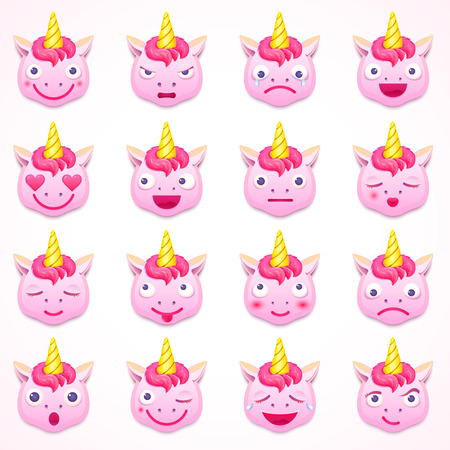 Set of emoji unicorn, vector illustration