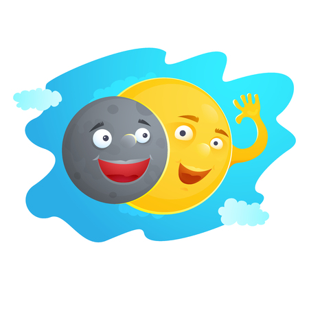 A cartoon illustration of the sun and moon during eclipse.