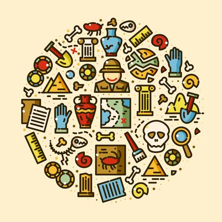 Archeology vector icons set Illustration