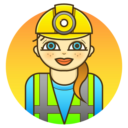 Smiling woman engineer in a reflective vest uniform and helmet, vector illustration in line art style