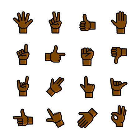 Gestures icons set, vector illustration