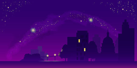 Night landscape vector illustration