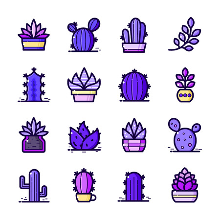 Cactuses icons set, vector illustration