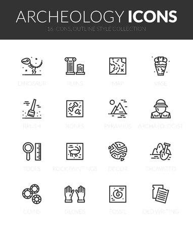 Outline black icons set