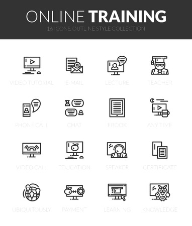 Outline black icons set in thin modern design style, flat line stroke vector symbols - online training collection