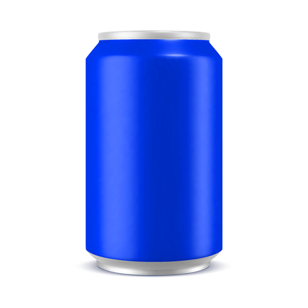 Aluminum can blue color mockup, realistic vector illustration isolated on white background, blank template for design