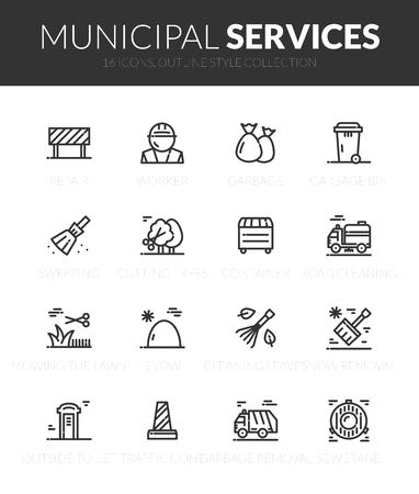 Outline black icons set in thin modern style Vector Illustration