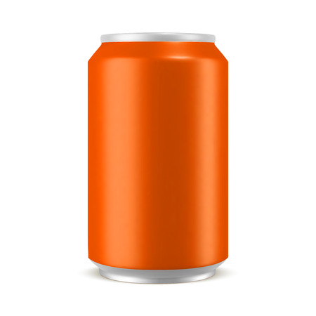 Aluminum can orange color mockup, realistic vector illustration isolated on white background, blank template for design