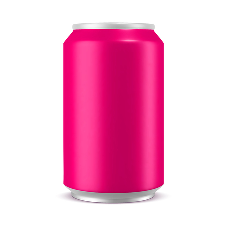 Aluminum can pink color mockup, realistic vector illustration isolated on white background, blank template for design