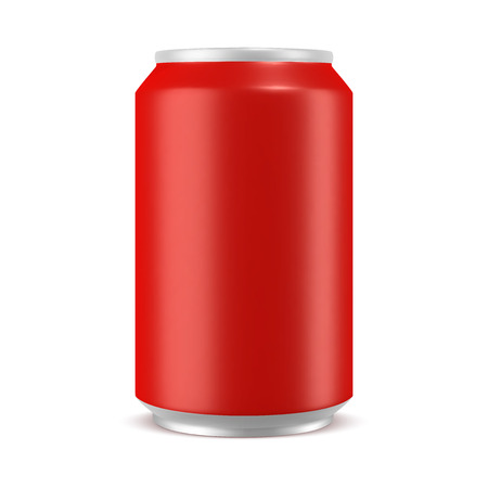 Aluminum can red color mockup, realistic vector illustration isolated on white background, blank template for design