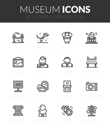 Outline black icons set in thin modern style Foto de archivo - 113963389